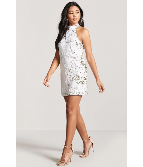 Imbracaminte Femei Forever21 Sequin Halter Dress WHITEGOLD