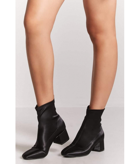 Incaltaminte Femei Forever21 Satin Block-Heel Ankle Boots BLACK