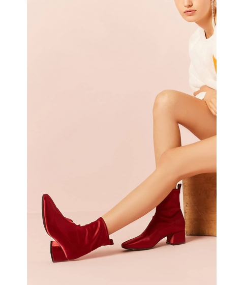 Incaltaminte Femei Forever21 Satin Block-Heel Ankle Boots RED