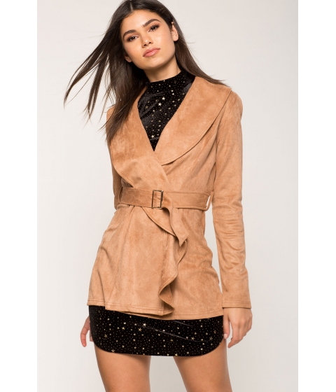 Imbracaminte Femei CheapChic Monica Suede Trench With Belt TaupeKhaki