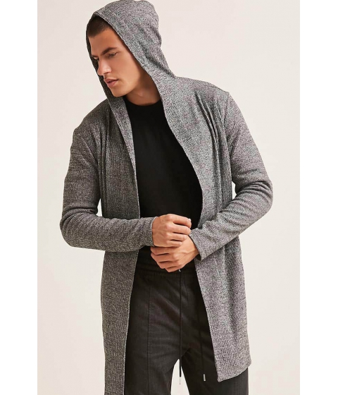 Imbracaminte Barbati Forever21 Open-Front Hooded Longline Cardigan HEATHER GREY