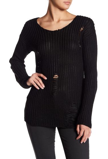 Imbracaminte Femei Poof Distressed Long Sleeve Sweater BLACK