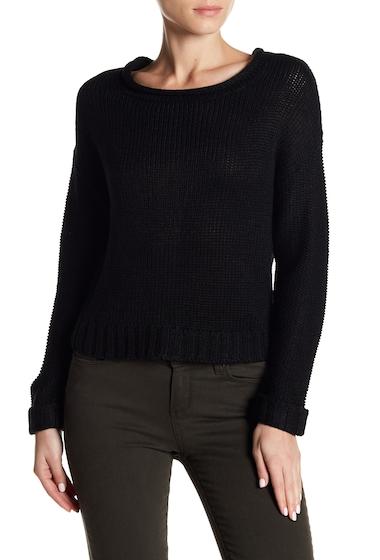 Imbracaminte Femei Poof Back Zip Loose Knit Long Sleeve Sweater BLACK