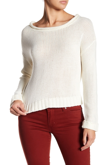 Imbracaminte Femei Poof Back Zip Loose Knit Long Sleeve Sweater IVORY