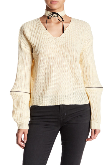Imbracaminte Femei Poof Long Sleeve Sweater With Choker Accessory PEARL