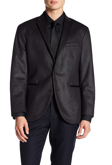 Imbracaminte Barbati Kenneth Cole New York Square Evening Two Button Notch Lapel Trim Fit Sport Coat CHARCOAL