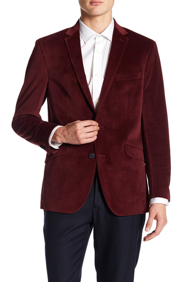 Imbracaminte Barbati Kenneth Cole New York Textured Two Button Notch Lapel Velvet Trim Fit Sport Coat RED