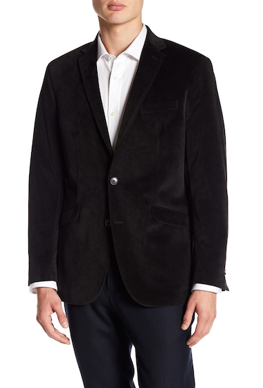 Imbracaminte Barbati Kenneth Cole New York Textured Two Button Notch Lapel Velvet Trim Fit Sport Coat BLACK