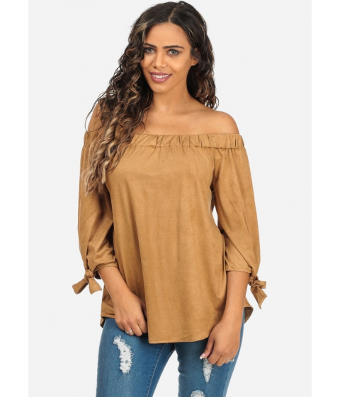 Imbracaminte Femei CheapChic Evening Wear Camel Color Off-Shoulder 34 Sleeve Velvet Top Multicolor