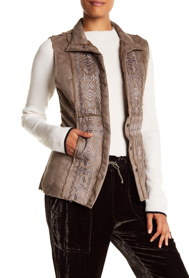 Imbracaminte Femei Johnny Was Embroidered Faux Fur Lined Faux Suede Vest DUSTR