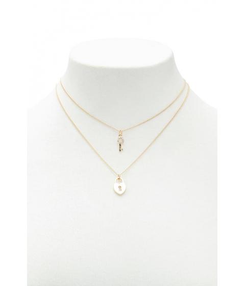 Bijuterii Femei Forever21 Layered Lock Key Pendant Necklace GOLD
