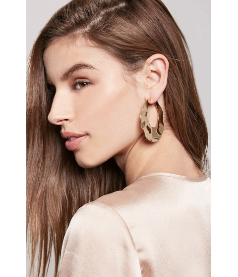 Bijuterii Femei Forever21 Hammered Hoop Earrings GOLD