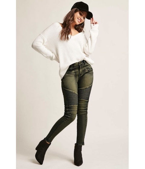 Imbracaminte Femei Forever21 12x12 Ribbed Skinny Moto Jeans OLIVE