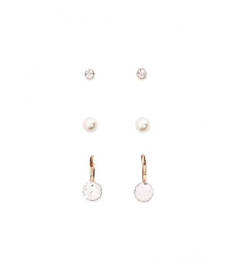Bijuterii Femei Forever21 Faux Pearl and Gem Stud Earring Set GOLDCLEAR