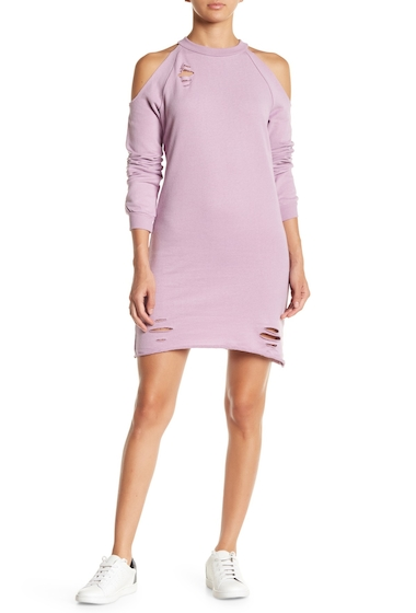 Imbracaminte Femei PLANET GOLD Distressed Cold Shoulder Sweater Dress LAVENDER MIST