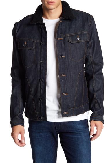 Imbracaminte Barbati William Rast Erwin Faux Fur Collar Lined Signature Long Sleeve Jacket RAW INDIGO