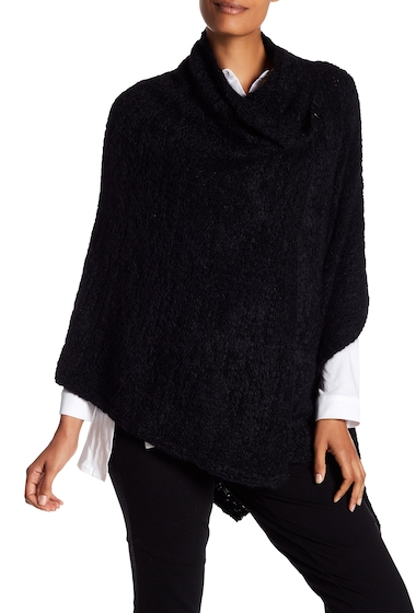 Imbracaminte Femei Eileen Fisher Enveloping Knit Buckle Clasp Poncho BLACK