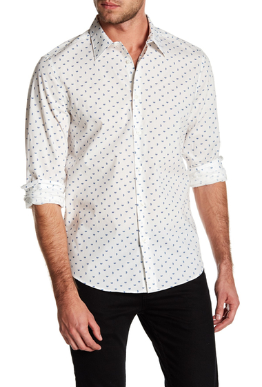 Imbracaminte Barbati Perry Ellis Stretch Fit Paisley Patterned Shirt BRIGHT WHITE