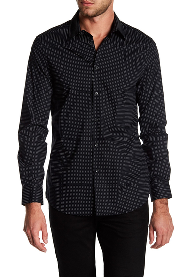 Imbracaminte Barbati Perry Ellis Mini Dot Stretch Slim Fit Shirt BLACK