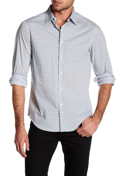 Imbracaminte Barbati Perry Ellis Patterned Button Down Stretch Fit Shirt STEEPLE GRAY