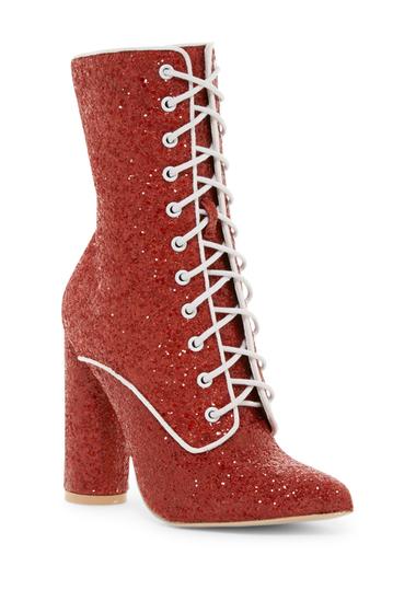 Incaltaminte Femei Cape Robbin Paw Glitter Lace-Up Boot RED