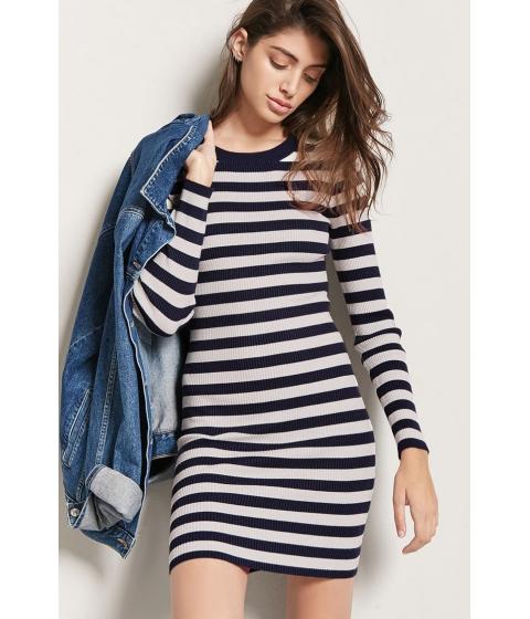 Imbracaminte Femei Forever21 Stripe Ribbed Knit Dress INDIGOCREAM