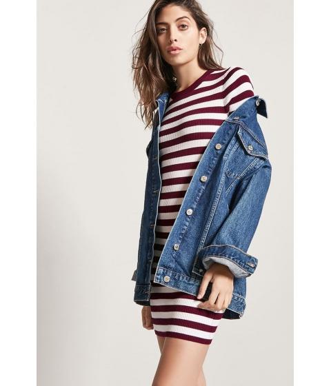 Imbracaminte Femei Forever21 Stripe Ribbed Knit Dress BURGUNDYCREAM