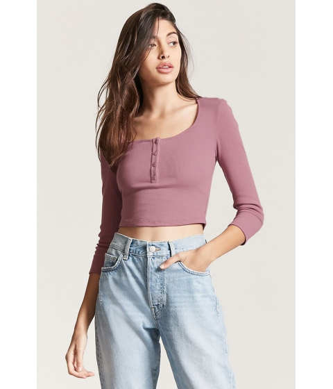 Imbracaminte Femei Forever21 Cropped Henley Top LAVENDER