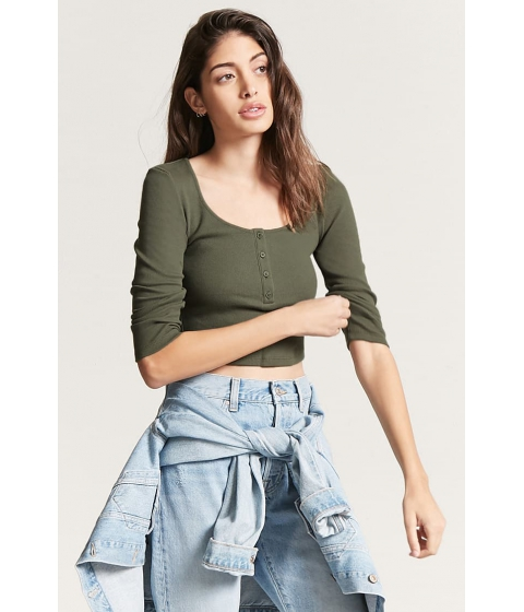 Imbracaminte Femei Forever21 Cropped Henley Top OLIVE