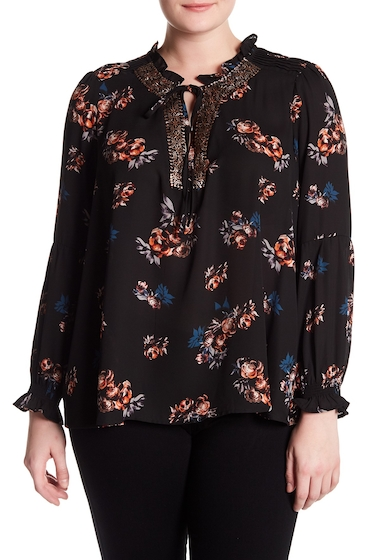 Imbracaminte Femei Want Need Floral Print Blouse Plus Size BLACK