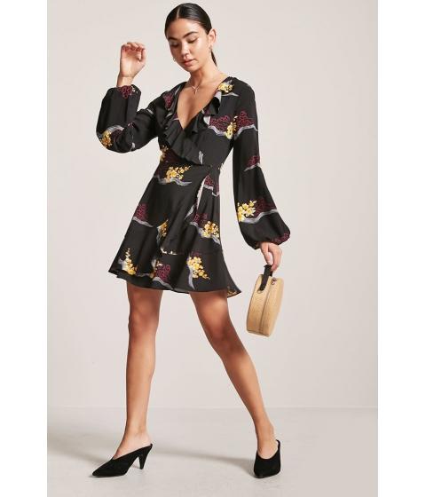 Imbracaminte Femei Forever21 Floral Ruffle Wrap-Front Dress BLACKMULTI