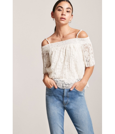 Imbracaminte Femei Forever21 Accordion Pleat Open-Shoulder Top IVORY