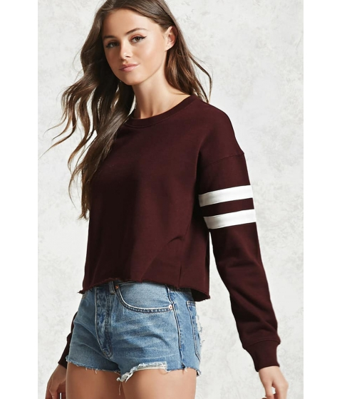 Imbracaminte Femei Forever21 Raw-Cut Varsity Sweatshirt AUBERGINECREAM