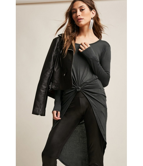 Imbracaminte Femei Forever21 Knotted High-Low Top CHARCOAL