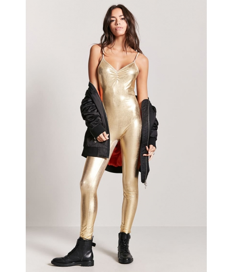 Imbracaminte Femei Forever21 Coated Metallic Jumpsuit GOLD