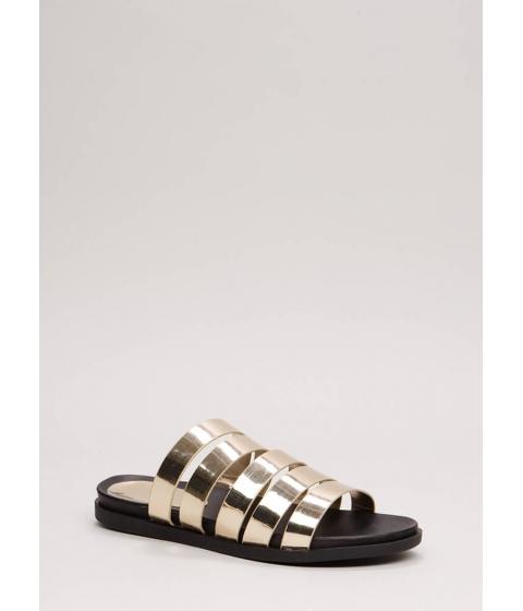 Incaltaminte Femei CheapChic High Five Faux Patent Slide Sandals Gold