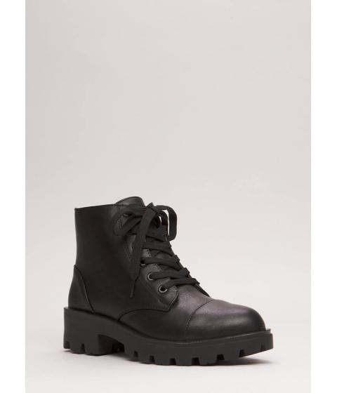 Incaltaminte Femei CheapChic Lug For Life Short Combat Boots Black