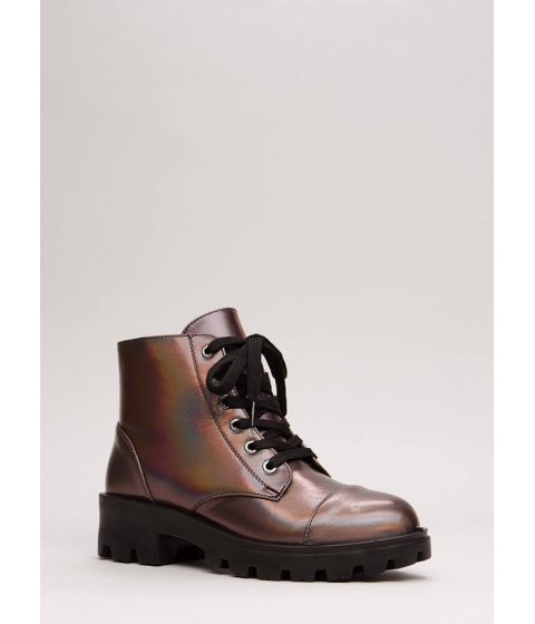 Incaltaminte Femei CheapChic Lug For Life Iridescent Combat Boots Pewter
