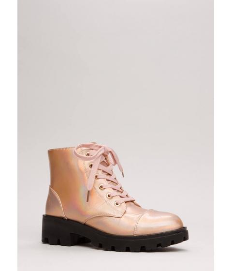 Incaltaminte Femei CheapChic Lug For Life Iridescent Combat Boots Rosegold