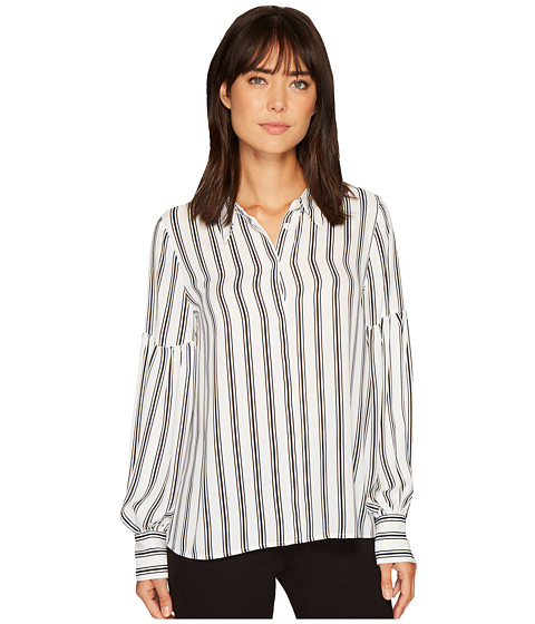 Imbracaminte Femei Vince Camuto Long Puff Sleeve Stripe Display Blouse Pearl Ivory
