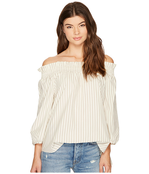 Imbracaminte Femei kensie Oxford Stripe Off Shoulder Shirting Top KS8K4353 Taupe Combo