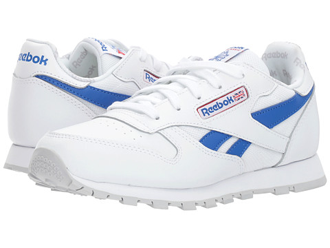 Incaltaminte Fete Reebok Classic Leather Switch Out (Little Kid) WhiteVital BluePrimal RedLight Solid Grey