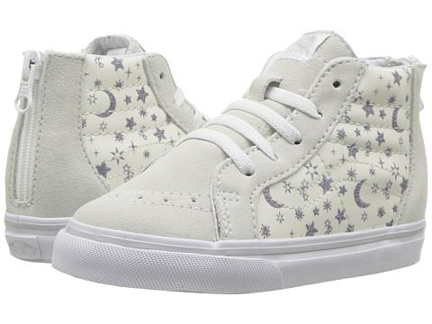 Incaltaminte Fete Vans SK8 Hi-Zip (Toddler) (Star Glitter) White