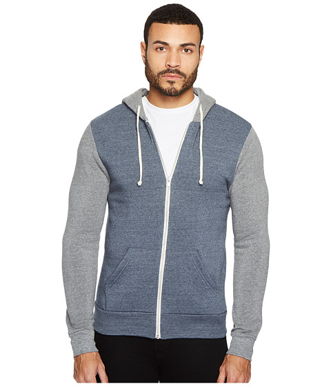 Imbracaminte Barbati Alternative Apparel Rocky Color Blocked Hoodie Eco True NavyEco Grey