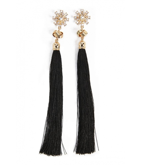 Bijuterii Femei Forever21 Rhinestone Star Tassel Drop Earrings GOLDBLACK