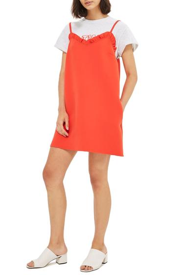 Imbracaminte Femei TOPSHOP Ruffle Trim Shift Minidress RED