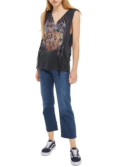 Imbracaminte Femei TOPSHOP Pretty Poison Band Graphic Tee WASHED BLACK MULTI