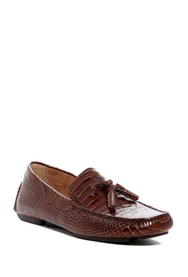 Incaltaminte Barbati Donald Pliner Vincent N5 Croc Embossed Leather Loafer BROWN