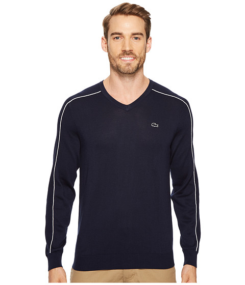 Imbracaminte Barbati Lacoste Jersey and Pique Sweater with White Outlined Croc Navy BlueFlour