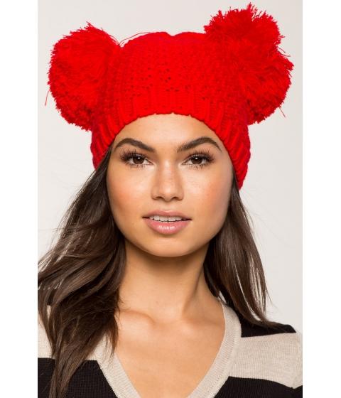 Accesorii Femei CheapChic Double Pom Pom Knitted Beanie Red